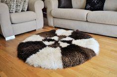 SHEEPSKIN RUG CARPET Creamy & Brown For by WoollyShepherdStore
