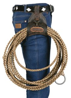Western Lasso Holder ... A shame a leather company doesn't use proper belt. Besides I've never seen a cowboy walking around with a lariat on his hip. This to me is a gimmick one doesn't need at all. If working with cattle etc. I don't want some crap hanging around and being in my way.