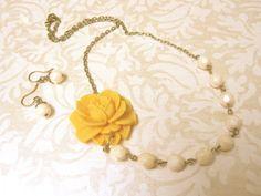 Yellow Statement Necklace Yellow Jewelry Flower Necklace Mustard Yellow Bridesmaid Jewelry Bridesmaid Necklace Rustic Wedding Jewelry