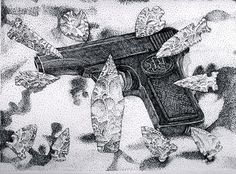 """Ron Laboray From the point of Archaic tools, the future includes the gun that killed Archduke Ferdinand and the first image of Mickey Mouse. Image 11.5""""x8.5""""   Acid free pen and ink on 11x14"""" Bristol paper.  2016"""