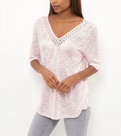 Shell Pink Fine Knit Crochet Trim V Neck Gypsy Top | New Look