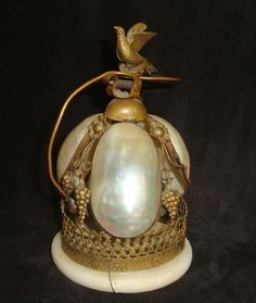Antique 19c French Victorian Bronze & Mother of Pearl Palais Royal Hotel Bell