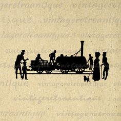 Digital Graphic Train Silhouette Image Locomotive Printable Download Vintage Clip Art. Vintage high quality digital graphic image. This high resolution printable digital artwork is excellent for printing, transfers, tea towels, tote bags, and more great uses. Personal or commercial use. This digital graphic is high quality, high resolution at 8½ x 11 inches. A Transparent background png version is included.