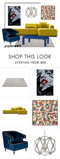 """""""Graphic Art"""" by soti-you ❤ liked on Polyvore featuring interior, interiors, interior design, home, home decor, interior decorating, The Artwork Factory, Worlds Away, Bungalow 5 and graphicart"""