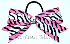 Pink Zebra & White Zebra Mini Cheer Bow With by XtremeBling, $8.00