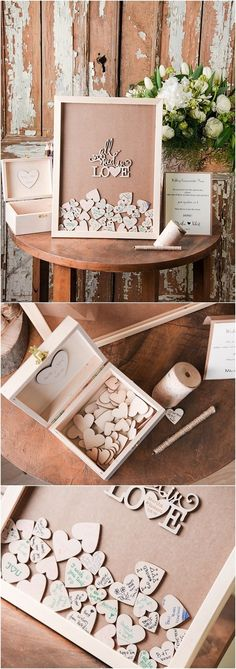 Rustic Laser Cut Wood Wedding Guest Book- All you need is love / http://www.deerpearlflowers.com/rustic-wedding-guest-books-botanical-wedding-invitations/