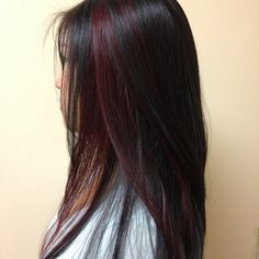 black hair with red peek a boo | Yelp