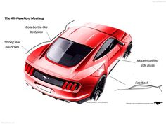 2015 Mustang Design Sketches, above rear offset view.