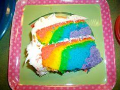 white cake with color inside, rainbow cake, tie dye cake, surprise cake