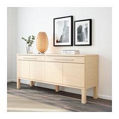 IKEA - BJURSTA, Sideboard, Birkenfurnier, , Türen ohne Griffe und Knöpfe – sie öffnen sich auf leichten Druck.2 sanft gleitende Schubladen mit kugelgelagerten Schienen und Ausziehsperre.2 versetzbare Böden; der Abstand dazwischen lässt sich dem Aufbewahrungsbedarf anpassen.