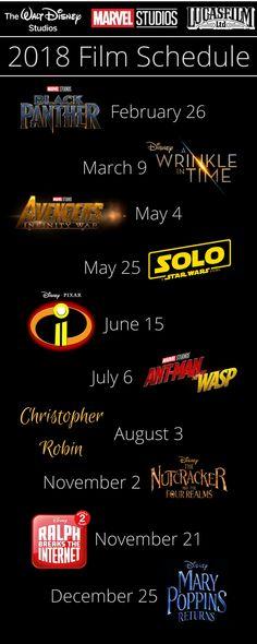 Get the full film schedule of films coming from Walt Disney Studios, Marvel Studios and Lucasfilm in 2018!