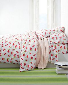 Our upbeat Cherries Percale Bedding is an easy way to bring the summer inside.