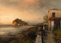 Ischia overlooking the Castello Aragonese, 1886, Oswald Achenbach. Germany (1827 - 1905)