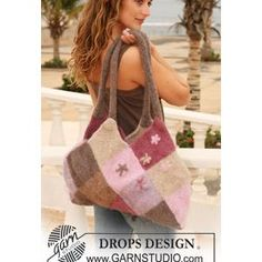 Domino squares felted bag FREE knitting pattern from DROPS