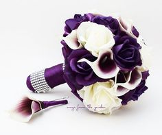 Purple & White Roses Picasso Calla Lilies Bridal Bouquet Real Touch Rose Grooms Boutonniere Purple Plum White Wedding Bouquet | SongsFromTheGarden - Wedding on ArtFire
