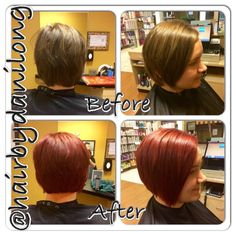 Vibrant red hair color Short a-line haircut Orem, UT