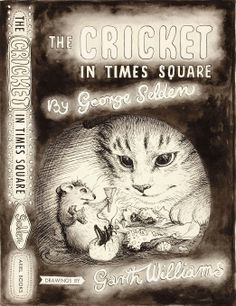 Vintage Cat Cricket in Times Square children's book illustration