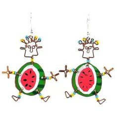Dancing Girl Round Melon Earrings - Creative Alternatives for sale online Handcrafted Jewelry, Earrings Handmade, Unique Earrings, Fair Trade Clothing, Girls Earrings, Girl Dancing, Gifts For Her, Artisan, Etsy