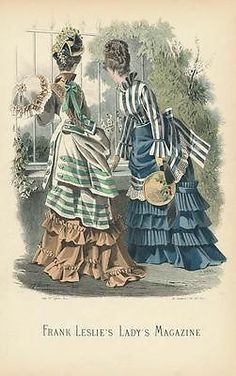 lovely original antique hand color fashion print c.1870 plate no. 1157C
