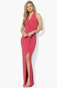 Hate the color, but like the silhouette...Lauren Ralph Lauren Matte Jersey Halter Dress available at #Nordstrom