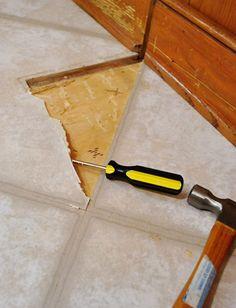 Patching a vinyl floor tile