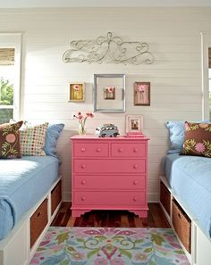 SHARED ROOMS - 2 GIRLS small dresser as a nightstand between beds painted a fun color