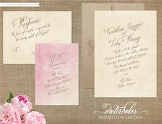 Watercolor Wedding Collection - Invitation, Response Card, Enclosure Card - Design for Printed Invitations with FREE SHIPPING. $75.00, via Etsy.