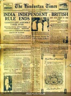 Independence Day History of India from 1757 to After the battle of Plassey India lost its Independence. The fight for Independence Day started in Finally, India got independence in 1947 Times Newspaper, Old Newspaper, Newspaper Headlines, Newspaper Design, History Of India, World History, Family History, Rare Pictures, Historical Pictures