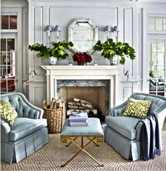 Really like the floor texture/patterm and the mantel/mirror combination.  Makes the room, anything could look good in it with those things.