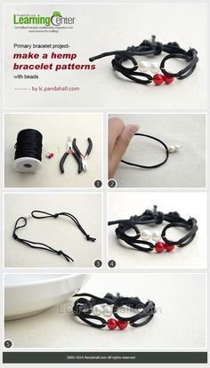 How to Do an Easy Black Macrame Bracelet with Nylon Thread and Pearl Beads