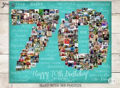 Celebrate a 70th Birthday or a 70th wedding Anniversary... Many years of LOVE with this Personalized Canvas or Print featuring your own pictures in the shape of the number 70! (or choose ANY number)  You can use your wedding photos, engagements photos, vacation photos, Honeymoon photos, iPhone photos... the possibilities are endless!  VIDEO ADD-ON: Have your photos turned into a cool video slideshow.. http://yourlifemydesign.com/video-feature  -------------------------- CUSTOM ...