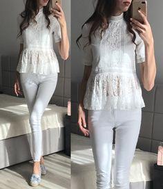 YNZZU 2017 Elegant floral lace patchwork blouse shirt Women half sleeve white blouse hollow out short top blouse blusas Shirt Blouses, Shirts, Short Tops, Half Sleeves, Floral Lace, White Jeans, Elegant, Pants, Women