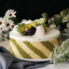 Go fancy for dessert with this light and fluffy striped matcha sponge cake filled with a refreshingly sweet yogurt mousse. Cake Recipes, Dessert Recipes, Desserts, Cooking Tv, Striped Cake, Sweet Pastries, Mousse Cake, Small Cake, Something Sweet