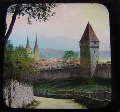 Glass Magic lantern slide LUCERNE THE BATTLEMENTS C1900 SWITZERLAND