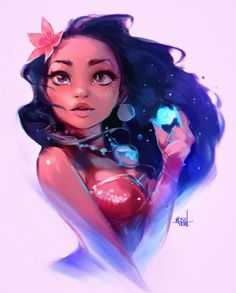 Disney Fan Art Moana by Rossdraws. Live the colours in this, makes her come to life Disney Magic, Disney Pixar, Disney And Dreamworks, Disney Animation, Disney Movies, Disney Characters, Moana Disney, Punk Disney, Animation Movies