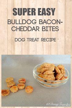 Super Easy Homemade Dog Treat Recipe: Bulldog Bacon Cheddar Bites by Daisy the French Bulldog.