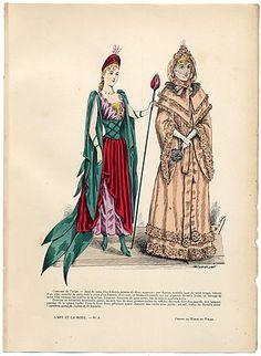 L'Art et la Mode 1890 N°06 Marie de Solar, hand colored fashion plate