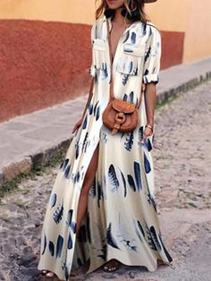 Buy Casual Dresses For Women at JustFashionNow. Online Shopping JustFashionNow Shawl Collar White Women Casual Dress A-line Going out Dress Half Sleeve Elegant Paneled Floral Dress, The Best Holiday Casual Dresses. Discover unique designers fashion at Jus Half Sleeve Dresses, Maxi Dress With Sleeves, Chiffon Maxi Dress, Dress With Shawl, Mode Inspiration, Fashion Outfits, Womens Fashion, Fashion Top, Cheap Fashion