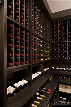 #Winestorage cellar with stained maple #wine racks.