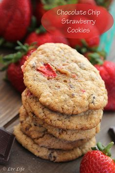 Chocolate Chip Strawberry Cookies... Like a chocolate covered strawberry in a cookie! No more words needed!! #irresistible | Liv Life