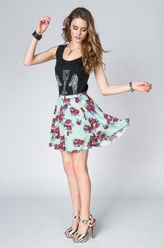 Bad Romance Floral Green Skirt by Mink Pink