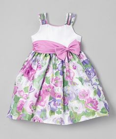 Loving this Jayne Copeland Lilac & White Floral Bow Dress - Toddler & Girls on Cute Girl Outfits, Cute Outfits For Kids, Toddler Girl Dresses, Toddler Girls, Little Girl Dresses, Girls Dresses, Frocks For Girls, Frock Design, Dress With Bow