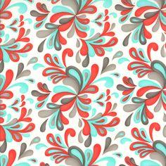 Red Aqua and Grey Paisley Fabric Flirt By by RaspberryCreekFabric