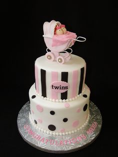 Pink and blue with two baby chicks @ the top twin baby shower ideas baby . Beautiful Cakes, Amazing Cakes, Baby Shower Pictures, Baby Shower Dresses, Cake Central, Types Of Cakes, Elegant Cakes, Cupcake Cookies, Cupcakes