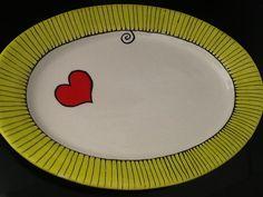 Painted ceramic platter