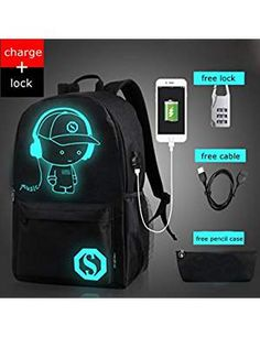 School Anti Theft Backpack Male Student Luminous Animation School Bags For Teenager USB Charge Laptop Backpacks bolsas feminina Best Backpacks For School, Cool School Bags, School Bags For Boys, Boys Backpacks, College Backpacks, Girls School, High School, Canvas Backpack, Travel Backpack