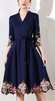 Vintage V-Neck Half Sleeve Embroidered Skater Dress Women's Dresses, Cute Dresses, Beautiful Dresses, Short Dresses, Skater Dresses, Vestidos Vintage, Vintage Dresses, Vintage Outfits, Modest Fashion