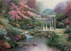 Pools of Serenity tapestry - Kinkade Tapestries