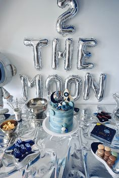 2 the moon birthday party! Baby Birthday Decorations, 2nd Birthday Party For Boys, Second Birthday Ideas, Kids Birthday Themes, Baby Boy Birthday, Astronaut Party, Moon Party, Celebrations, Twins