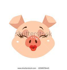 Pig cartoon character icon. Pig emoji kissing face.